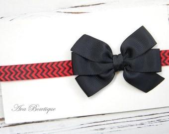 Red and Black Bow Headband - Bulldog Bow Headband - Atlanta Falcons Headband - Football Bow Headband