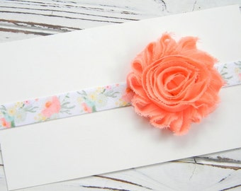 Peach Chiffon Headband - Peach Flower Headband - Peach Shabby Chic Headband - Floral Chiffon Headband - Newborn Chiffon Headband