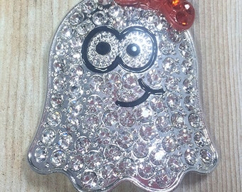 46x37mm, Ghost Rhinestone Pendant, Girl Ghost, Friendly Ghost, Halloween, Chunky Bead Necklace, Chunky Necklace, DIY Necklace
