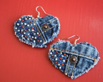 Earrings - Heart-Shaped Recycled Levi's Denim - Hand-Beaded Red White and Blue - Upcycled and Patriotic