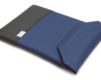 Case for Dell XPS 15 9550 - Navy Blue Canvas with Black Faux Leather Pocket