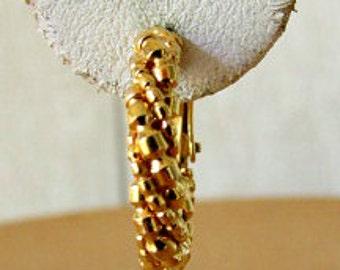 vintage 60s napier beaded hoop earrings gold tone hinged screw back