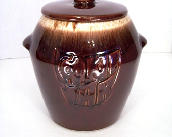 Cookie Jar McCoy Cookie Jar Canister Cooky Container Stoneware Brown