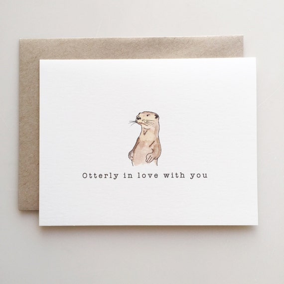 Valentine's Day Card with Otter - Otterly in love with you - love card - Handmade - Paper Goods - Otter love - Love