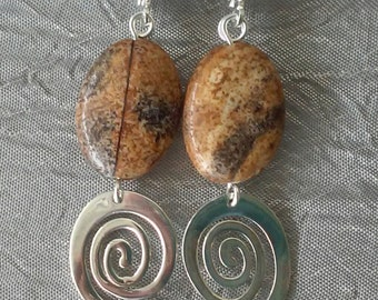 Picture Jasper, Sterling Silver, and Freshwater Pearl Earrings