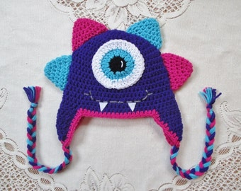 Miss Monster Crochet Hat - Amethyst, Turquoise and Bright Pink - Photo Prop - Available in Any Size or Color Combination