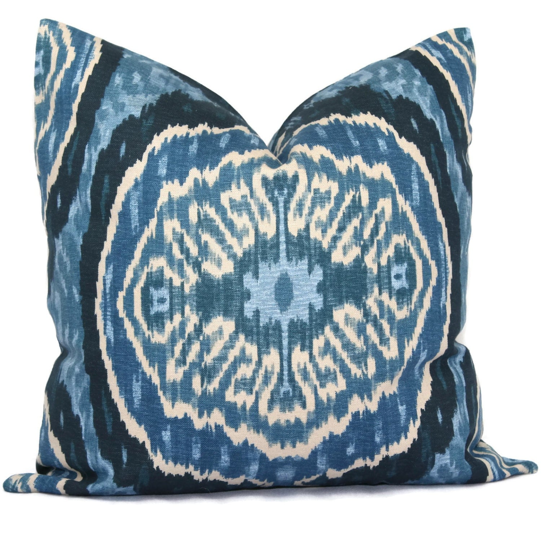 Decorative Denim Pillows : Duralee Denim Blue Masala Suzani Pillow Cover Decorative