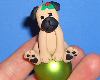 Polymer Clay Pug on Glass Ball Ornament