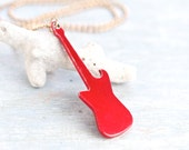 Electric Guitar Necklace - Red Pendant on Chain - Rocker Necklace - Rock On - Quirky Jewelry