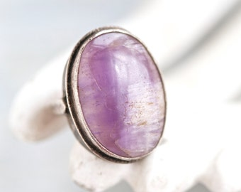 Purple Agate Oval Ring - Sterling Silver Boho Chunky Ring Size 5.5