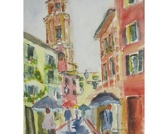 A Rainy Day in Rapallo, Italy -  an Original Watercolor