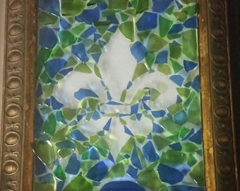 Custom Made Fleur de Lis Wine Bottle Mosaic