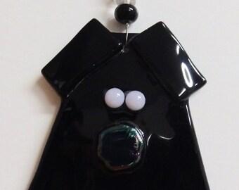 Black Pig Fused Glass Ornament