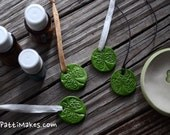 St. Patrick's Green Shamrock Essential Oil Diffuser Pendants Hand Stamped and Cut / Choice of necklace options