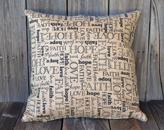 Faith Hope Love Decorative Pillow Cover - Large Burlap Slip Cover - Religious Accent Pillow Cover - 20 x 20 - 1 Corinthians - Home Decor