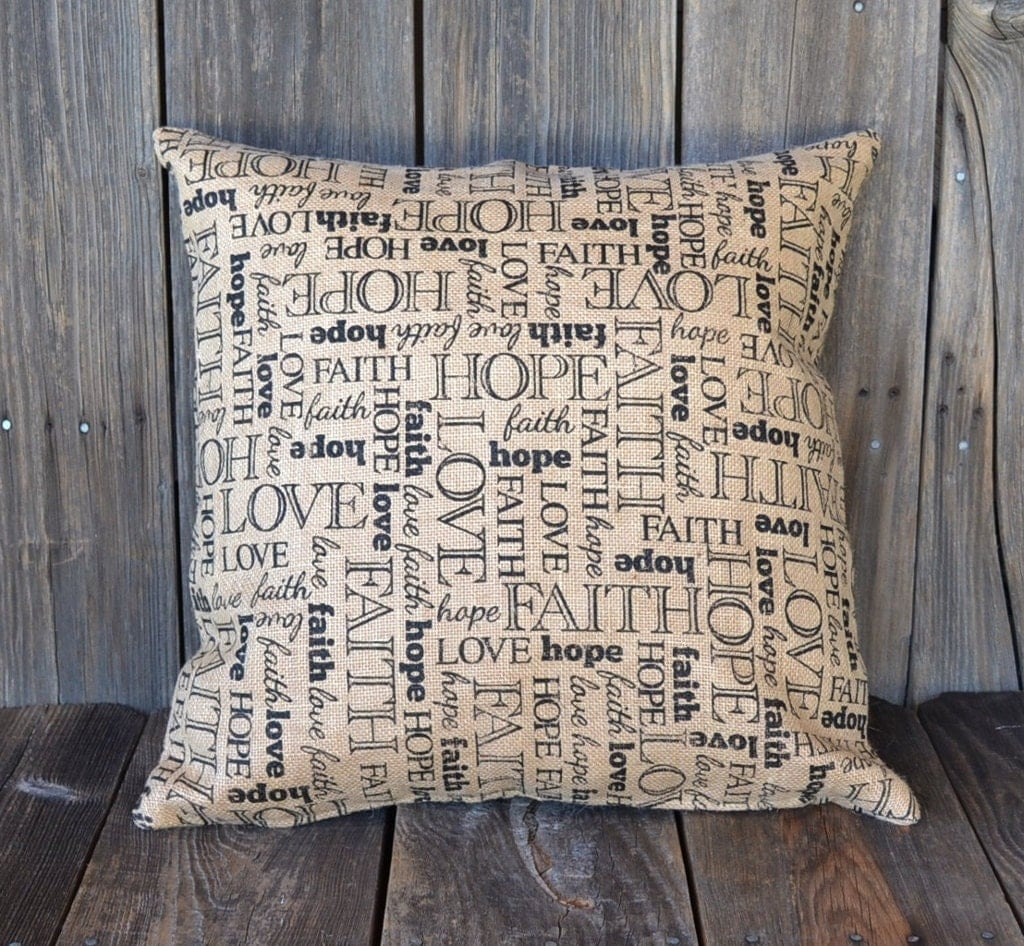 Hope Decorative Pillow : Faith Hope Love Decorative Pillow Cover Large Burlap Slip