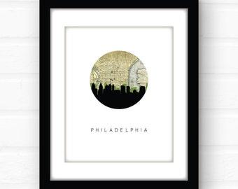 Philadelphia skyline print | Philadelphia map art | Philadelphia art | Philadelphia, Pennsylvania art | vintage map art | Philly skyline