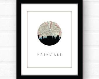 Nashville skyline | Nashville art | Nashville print | Nashville wall art | Nashville map | Nashville poster | city skyline print | map art