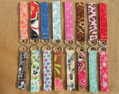 Keychain Wristlet - cheetah, flowers, pink, paisley, gray and yellow, orange, red and black