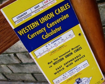 Western Union Telegram Cables Currency Conversion Calculator Vintage 1955 international telegraph messages prices cardboard chart prices