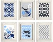 Set of Six Modern/Vintage Blue/Grey Wall Art - 8x11 Print Set - Home Decor - For Home (Unframed)
