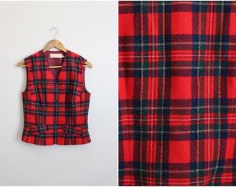 60s Pendleton Tartan Wool Vest / Plaid vest / 1960s / Size S/M
