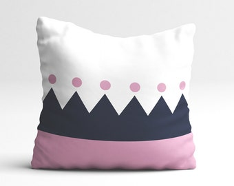 Pink and blue geometric pillow cover, yellow dots, decorative pillow, pillow cover, kids pillow, cushion cover, nursery pillow, kids decor