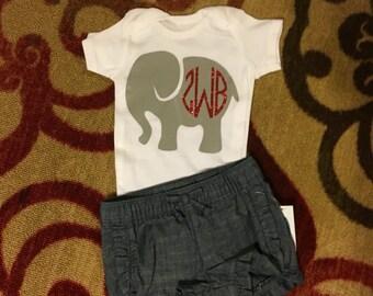 Monogramed Elephant Onesie 0-3 months 3-6 months 6-9months