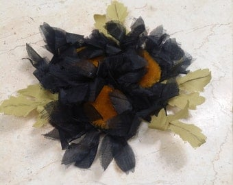 Black Vintage Millinery Flowers Bunch Hat accessory, hair accessory, embellishment