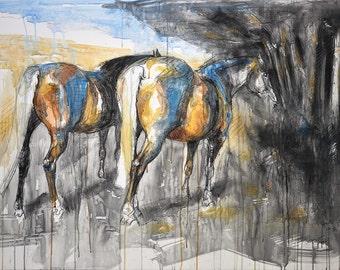 Original Watercolor, Pastels and Black Chalk Painting of 2 Horses, Contemporary Original Fine Art, Expressive Art, Animal