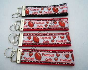 Football Cutie and I love Foorball Print Ribbon on Strong Webbing Key Fob Keychain Wristlet