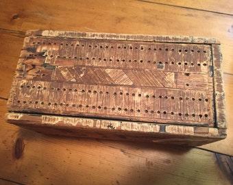 Antique Primitive Wood Candle Storage Box Antique storage box primitive wooden box