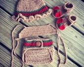 Newborn Crochet Girl GUCCI Inspired Hat, Halter Top, Diaper Cover and Sandals Set ~ Super Cute Photo Prop