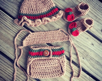 Newborn Crochet Girl GUCCI Inspired Hat, Halter Top, Diaper Cover and Sandals Set ~ Super Cute Photo Prop