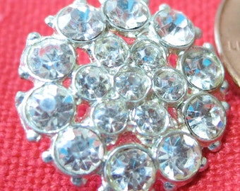"""Vintage rhinestone buttons, 4X0.65"""", self shank, almost flat top, 2 rows, different sized stones round small central stone.CLAM15.3-4.9-14."""