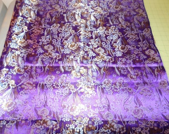 Purple Brocade  Fabric  1 yard 16 inches x 48 inches wide   Sewing Quilting Crafting  Sale Destash Stock Up