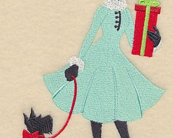 Christmas Shopper with Dog and Presents Gifts Embroidered Flour Sack Hand/Dish Towel
