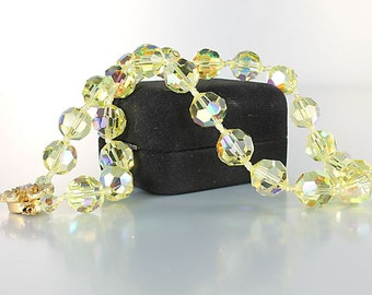 Yellow crystal Necklace, Aurora Borealis, AB crystal choker Necklace, Flower clasp vintage 1960s jewelry
