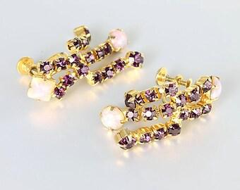 Amethyst Opal Earrings, Purple rhinestone Chain Fringed Earrings, Screw Back Juliana style