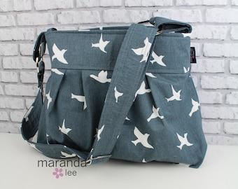Stella Diaper Bag -Medium - Gunmetal Grey- Birds  with Custom Lining Nappy Bag Baby Gear Adjustable Strap Attaches to Stroller