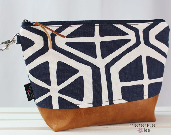 AVA Clutch -Large - Navy Aiden with PU Leather Cosmetic  READy to SHIp Diaper bag Travel Make Up Zipper Pouch