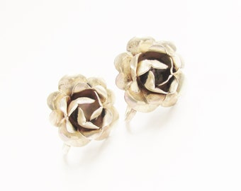 Vintage Sterling Rose Flower Earrings Screw Back 1950s