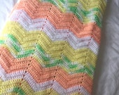 SALE-Sweet Baby Afghan, Gender Neutral, Green, White, Melon, Yellow