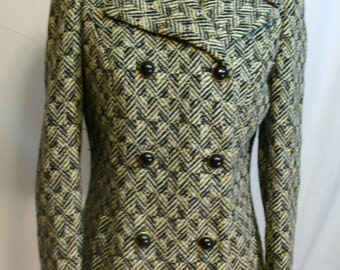 Vintage tweed Coat Jacket double breasted smaller size Union made early 1970s
