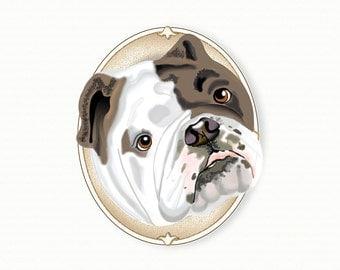 English Bulldog Tiny Art Print - Brindle - Dog Art Print - Tiny Bulldog in a Frame