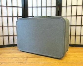 Vintage 1950s 1960s  Blue Tweed Suitcase by Travel Joy Small Medium Overnight Hard Luggage Metallic Sparkling Valise