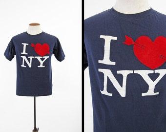 Vintage 70s I Love NY T-shirt New York City Navy Blue All Cotton Tee - Medium