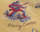 Davy Crockett feed sack, yellow background, free shipping