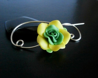 Shawl Pin, Scarf Pin , Yellow Green Flower brooch, Wire Wrapped Jewelry, Pin for knitters, Wirework
