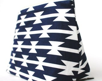 Navy and White Southwest Geometric Pattern Cosmetic Bag/Makeup Bag